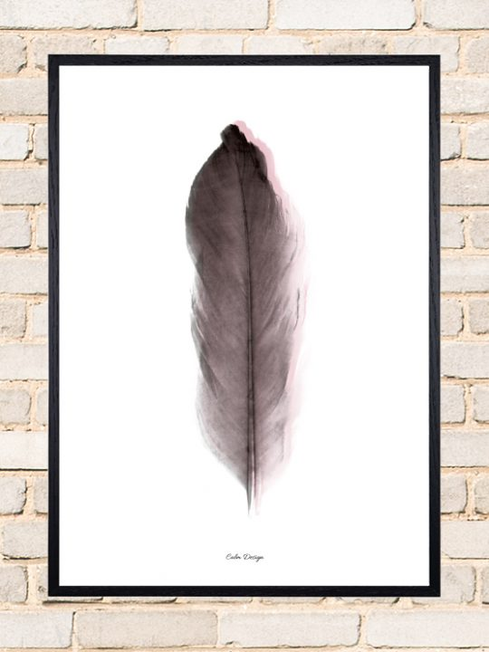 Calm Design Plakat - Feather - sort/rosa - A3