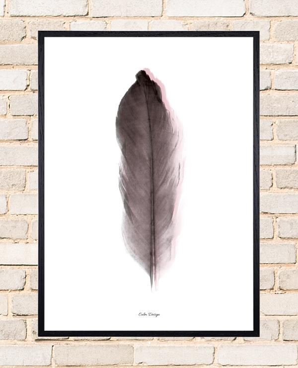 Calm Design Plakat - Feather - sort/rosa - A3