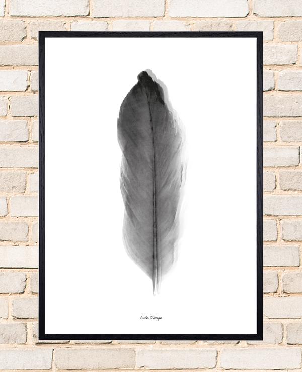 Calm Design Plakat - Feather - sort/hvid - A3