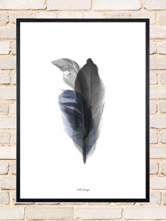 Calm Design Plakat - Feather Bouquet - sort/blå - A3