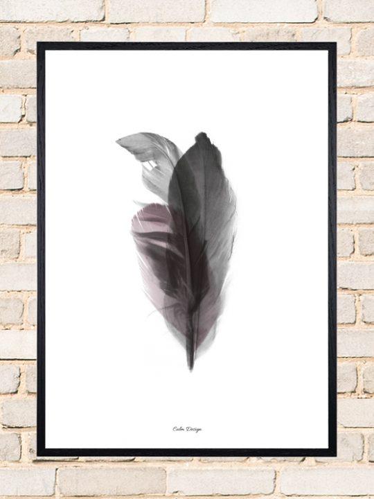 Calm Design Plakat - Feather Bouquet - sort/rosa - A3