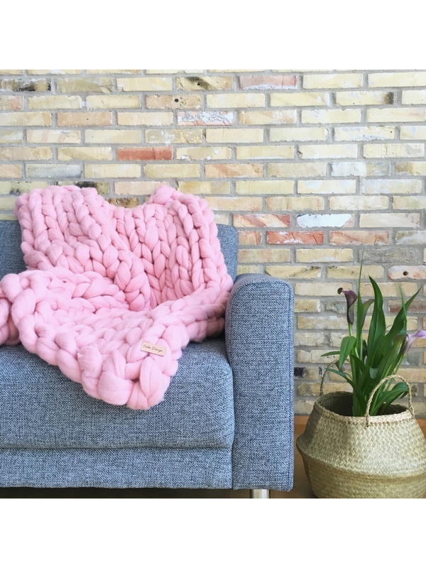 Calm Design Chunky Plaid - Rosa - 100 x 130 cm.