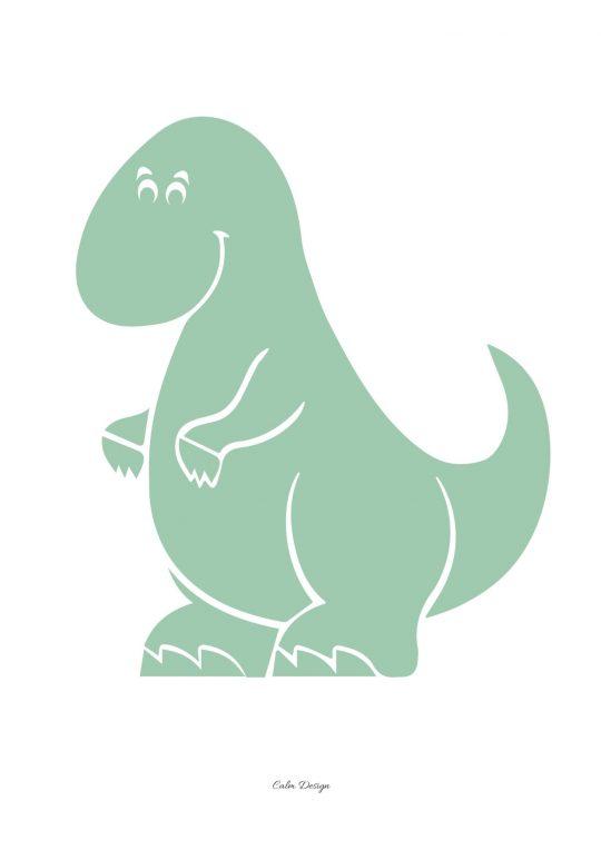 Calm Design Plakat - Dino - grøn - A4