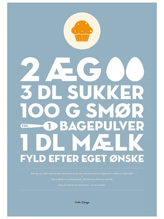 Calm Design Plakat - Muffinopskrift - A3