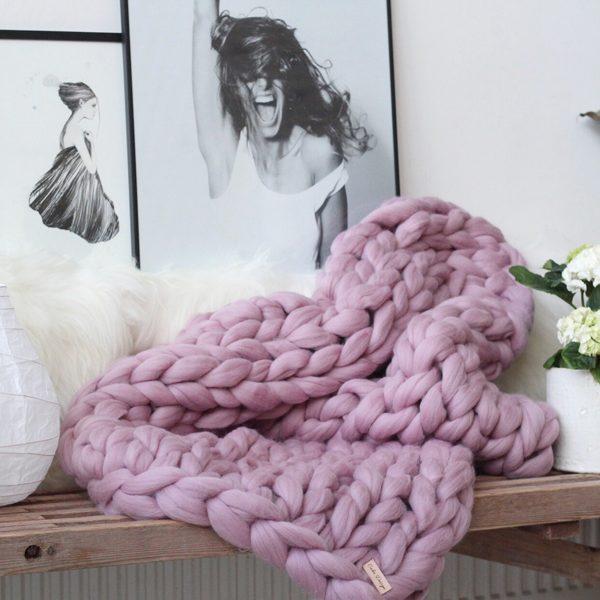 Chunky Plaid - Lavendel - 130 x 180 cm - merinould