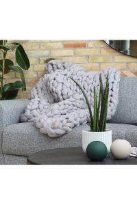 Chunky Plaid - Lys grå - 65 x 90 cm - merinould