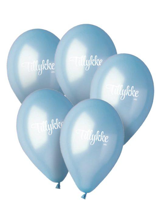 Calm Design - Balloner - Metallic - Lyseblå - 30 cm. - 5 stk.